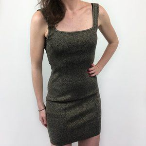 Leith Sleeveless Metallic Gold Sweater Mini Dress